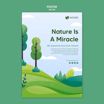 자연은 삶의 열쇠 포스터 템플릿