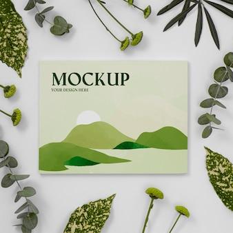 잎 배열이있는 자연 잡지 표지 모형
