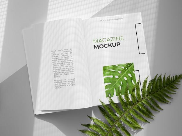 잎이있는 자연 잡지 표지 모형