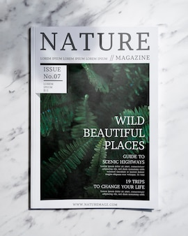 Nature magazine mock up on grey background