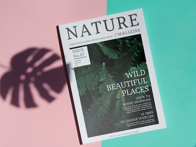 Nature magazine mock up on simple background