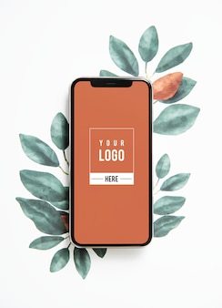 Nature mobile phone screen mockup