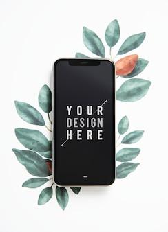 Mockup di schermo del telefono cellulare natura