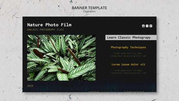 Modello di banner di pellicola fotografica di natura