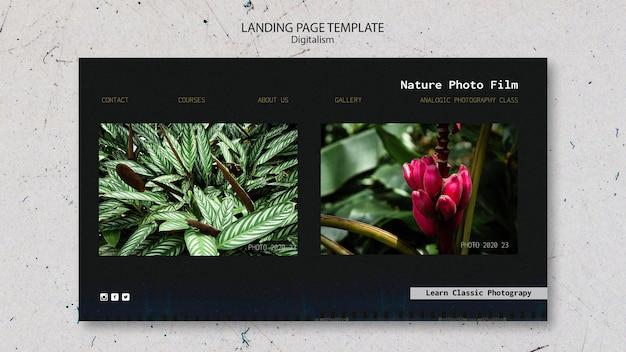 Modello di pagina di destinazione del film fotografico della natura