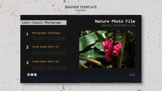 Banner di modello di pellicola fotografica di natura