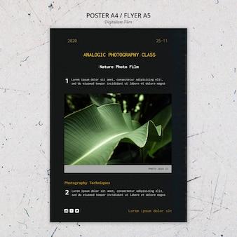 Volantino modello di pellicola fotografica di natura