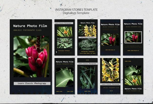 Storie di instagram del modello di pellicola fotografica della natura