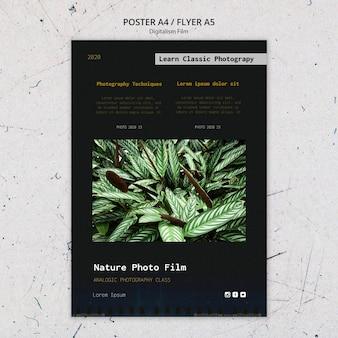 Poster modello di pellicola fotografica di natura