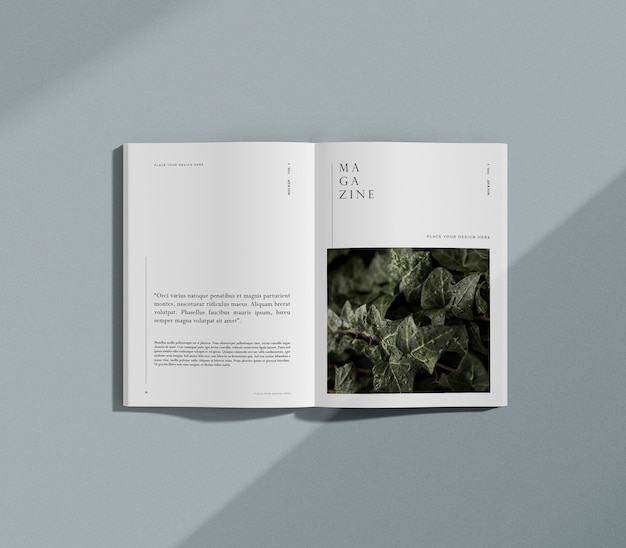 Nature and plants editorial magazine mock-up