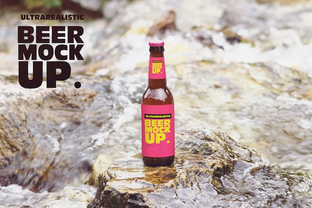 Nature river beer mockup