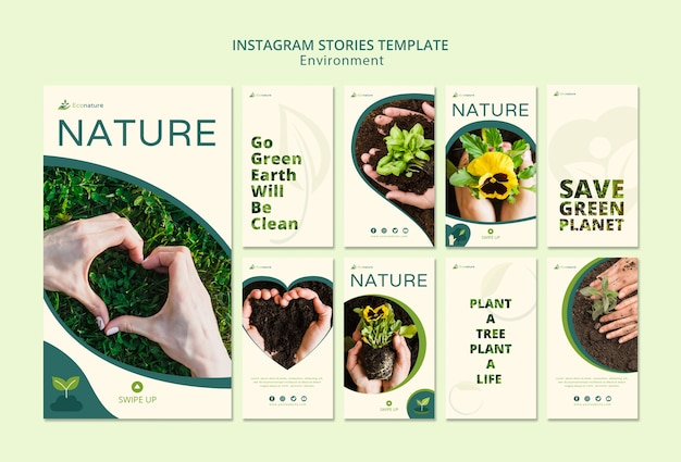 Nature and seedlings instagram stories template