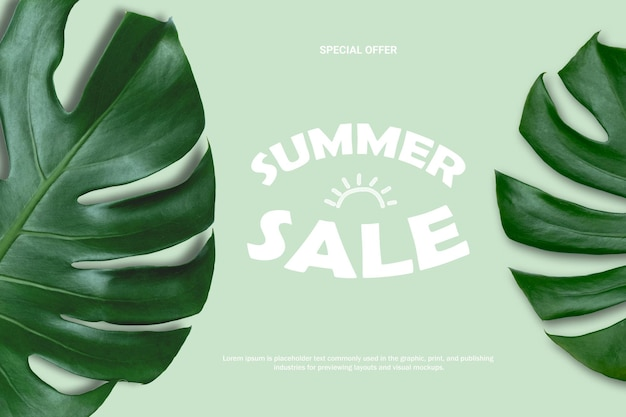 Monstera의 자연 여름 판매 배경 녹색 배경에 나뭇잎