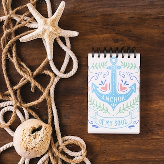 Nautical elements and notepad