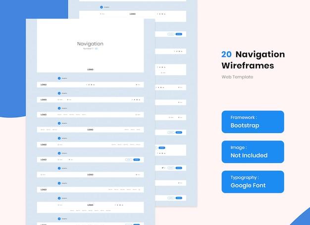 Navigation for web design wireframe kit