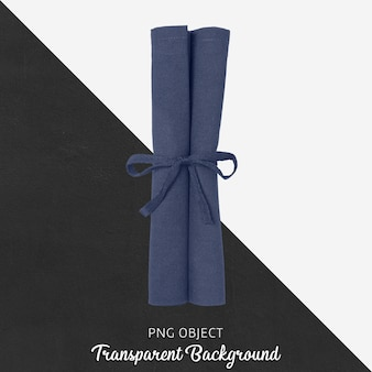 Navy blue cloth napkin on transparent