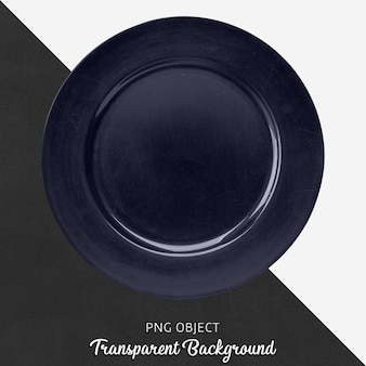 Navy blue round service plate on transparent background