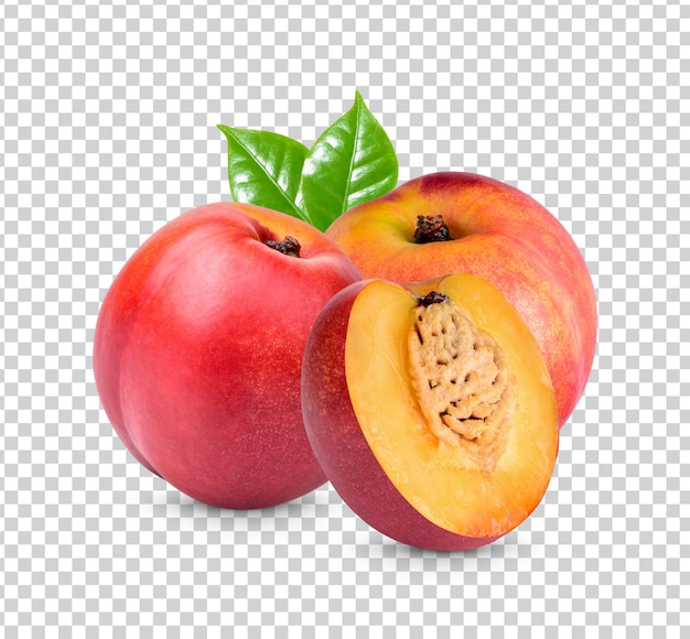 Nectarine with leaves isolated premium psd