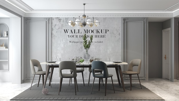 Neoclassical living room wall mockup with modern table set in interior