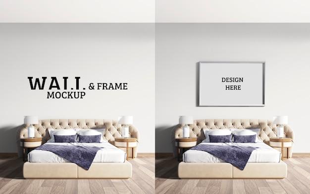 壁とフレームのモックアップneoclassicalベッドルーム