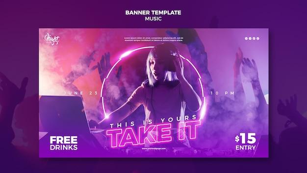 Modello di banner al neon per musica elettronica con dj femminile