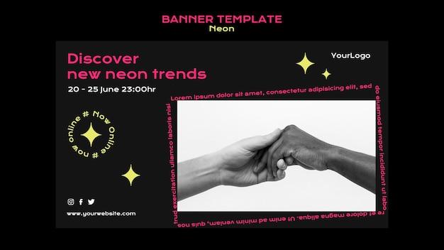 Modello di banner al neon per le nuove tendenze online