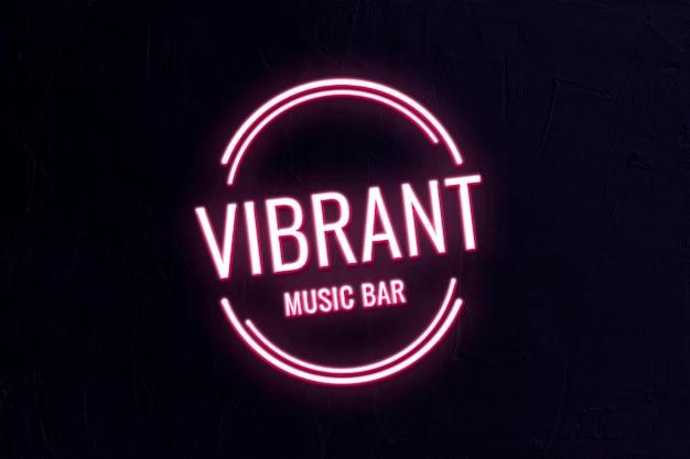 Neon bar logo template psd for business