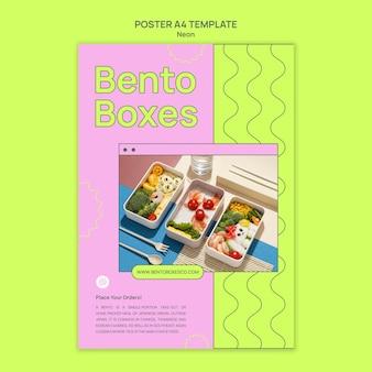 Modello di stampa di bento box al neon