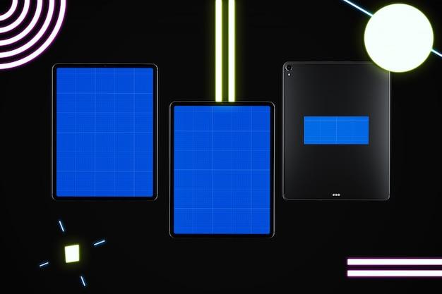 Neon black tablet mockup