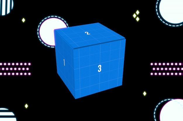Неоновая коробка макет Premium Psd