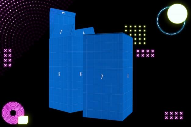 Neon boxes mockup
