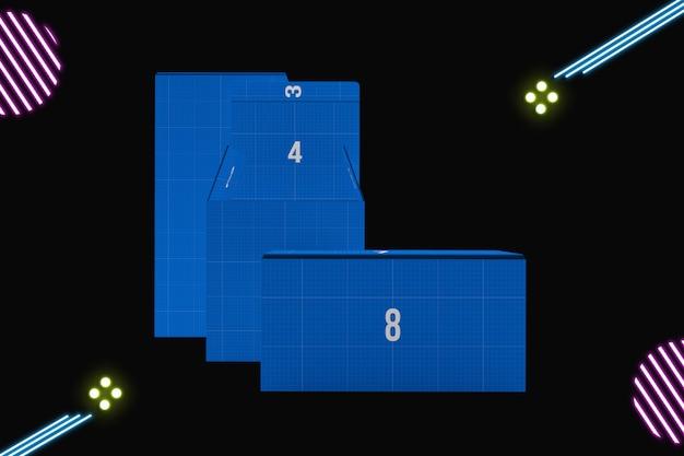 Неоновые коробки макет Premium Psd