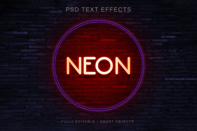 Neon circle style text effect design