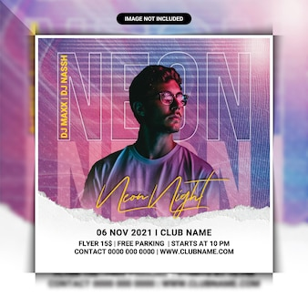 Neon club night party flyer template