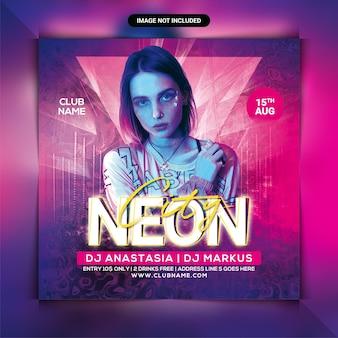 Neon dj party flyer or social media post