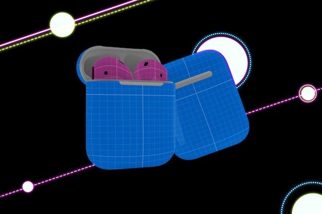 Neon earphone mockup