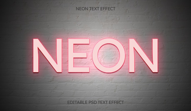 Neon editable text effect on white brick wall