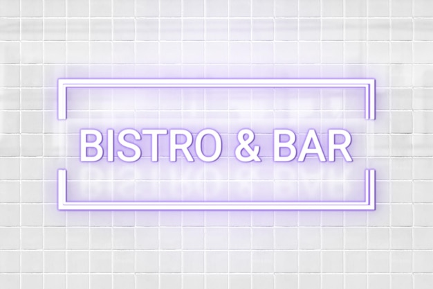 Neon emboss logo mockup psd in purple
