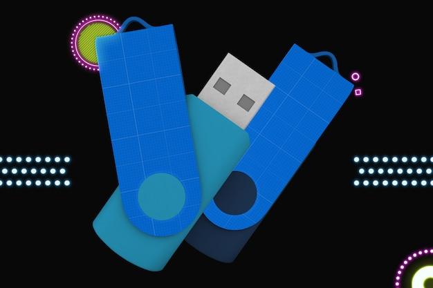 Neon flash memory mockup Premium Psd