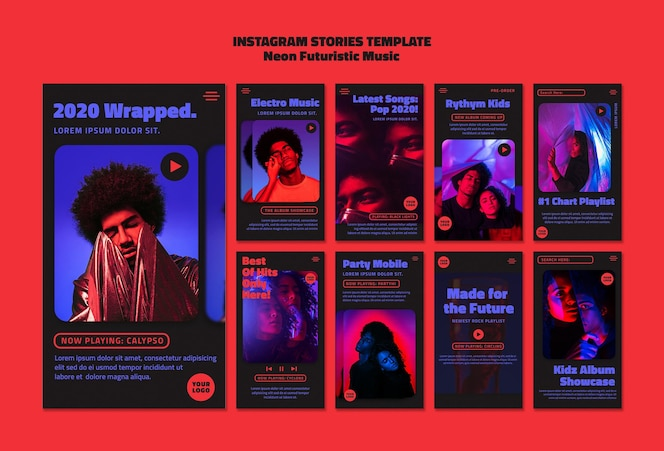 Neon futuristic music instagram stories template