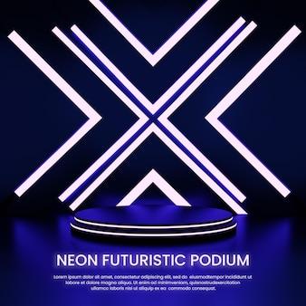 네온 미래형 연단 제품 디스플레이