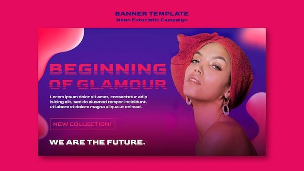 Neon futuristic template banner
