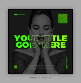 Neon glow in the dark  instagram social media template with text effect