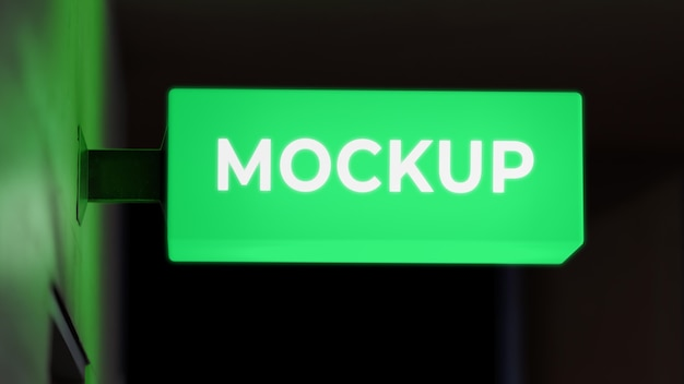 Neon green nighttime business sign mock-up