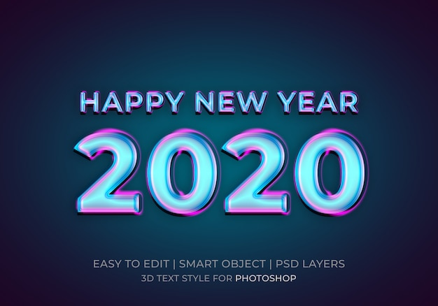 Neon happy new year 2020 text style effect