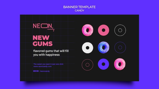 Neon horizontal banner for candy store