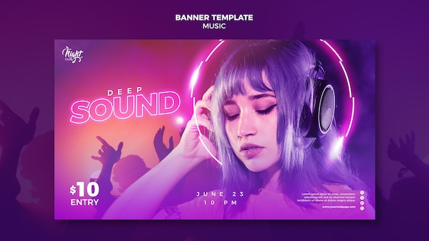 Neon horizontal banner for electronic music with female dj