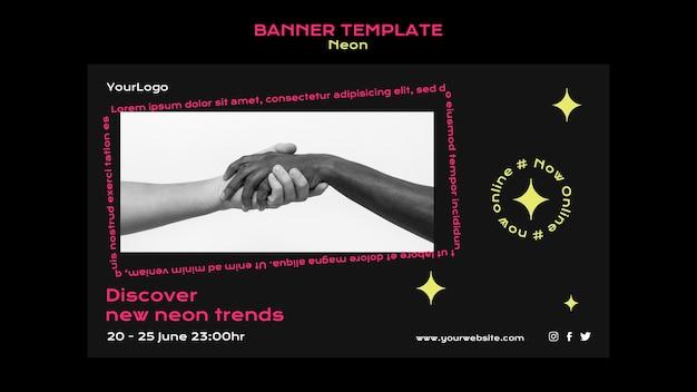 Banner orizzontale al neon per le nuove tendenze online