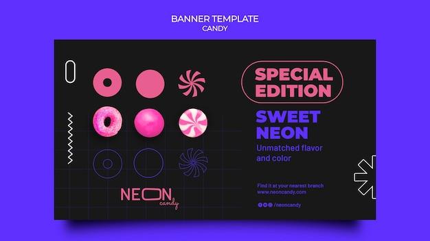 Modello di banner orizzontale al neon per negozio di caramelle