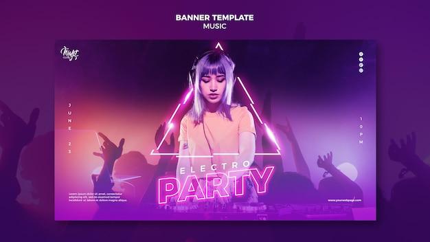 Modello di banner orizzontale al neon per musica elettronica con dj femminile